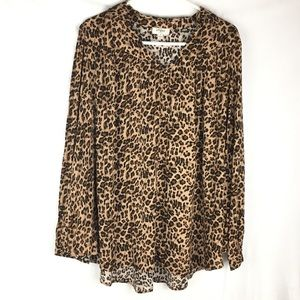 Umgee Leopard Print Tunic Blouse Size S